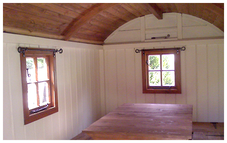 Interior of restored Shepherd's Hut